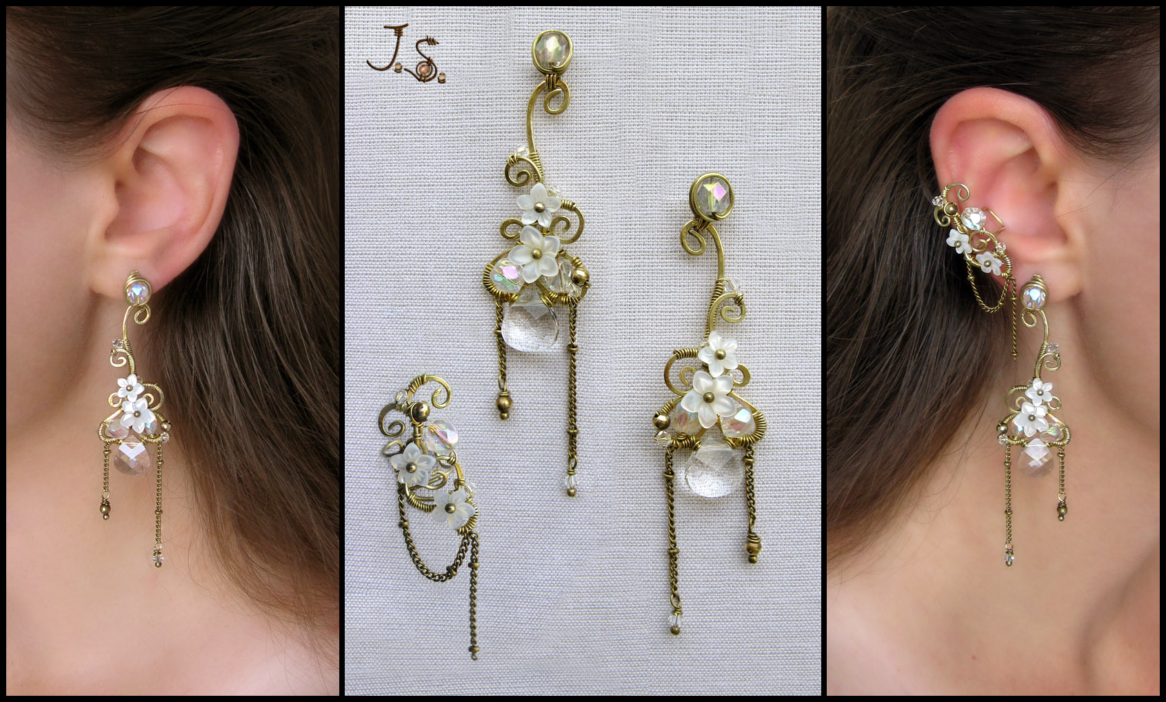 White spring ear cuff and earrings by JSjewelry