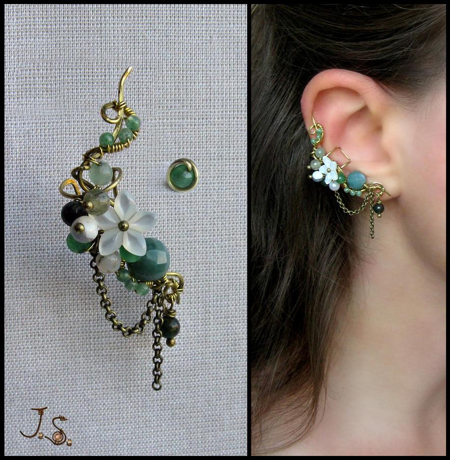 Wind in the grass ear cuff by JSjewelry