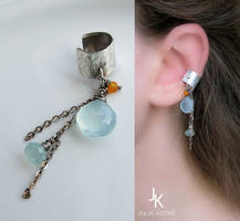 Silver ear cuff with chains and gemstones by JuliaKotreJewelry
