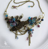 Wire wrapped necklace Dusk at the lake by JuliaKotreJewelry