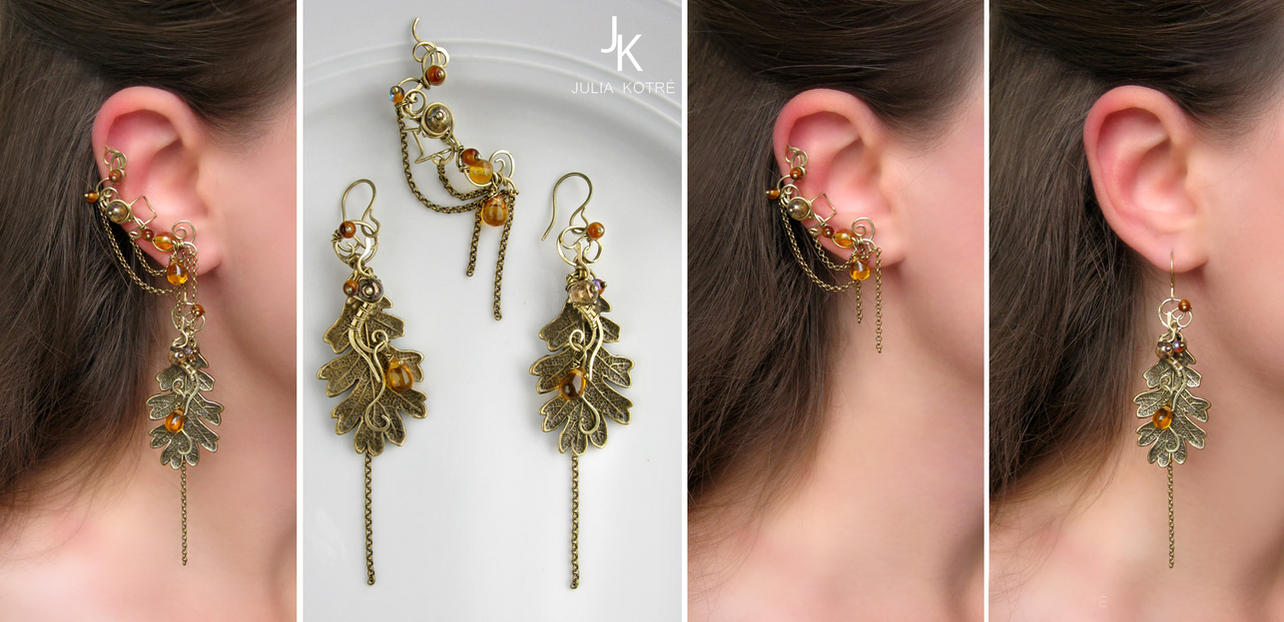 Autumn earrings and ear cuff Whisper of the leaves by JSjewelry