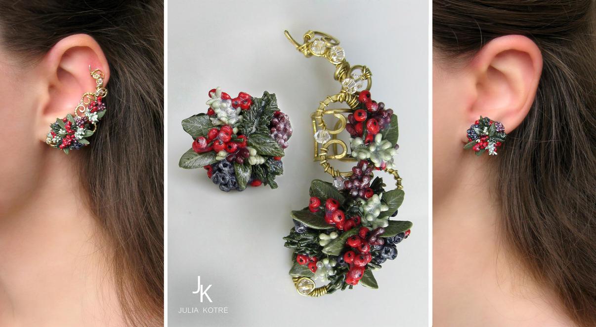 Ear cuff and stud Winter fairytale by JSjewelry