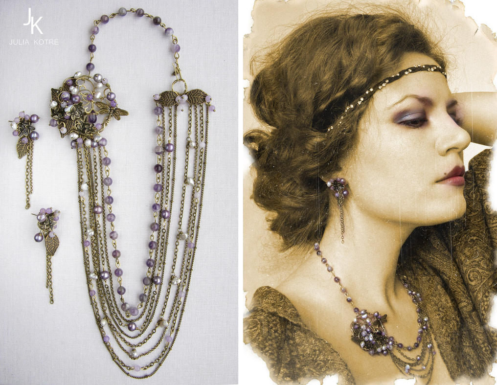 brooch necklace and earrings Melody of the dusk by JSjewelry