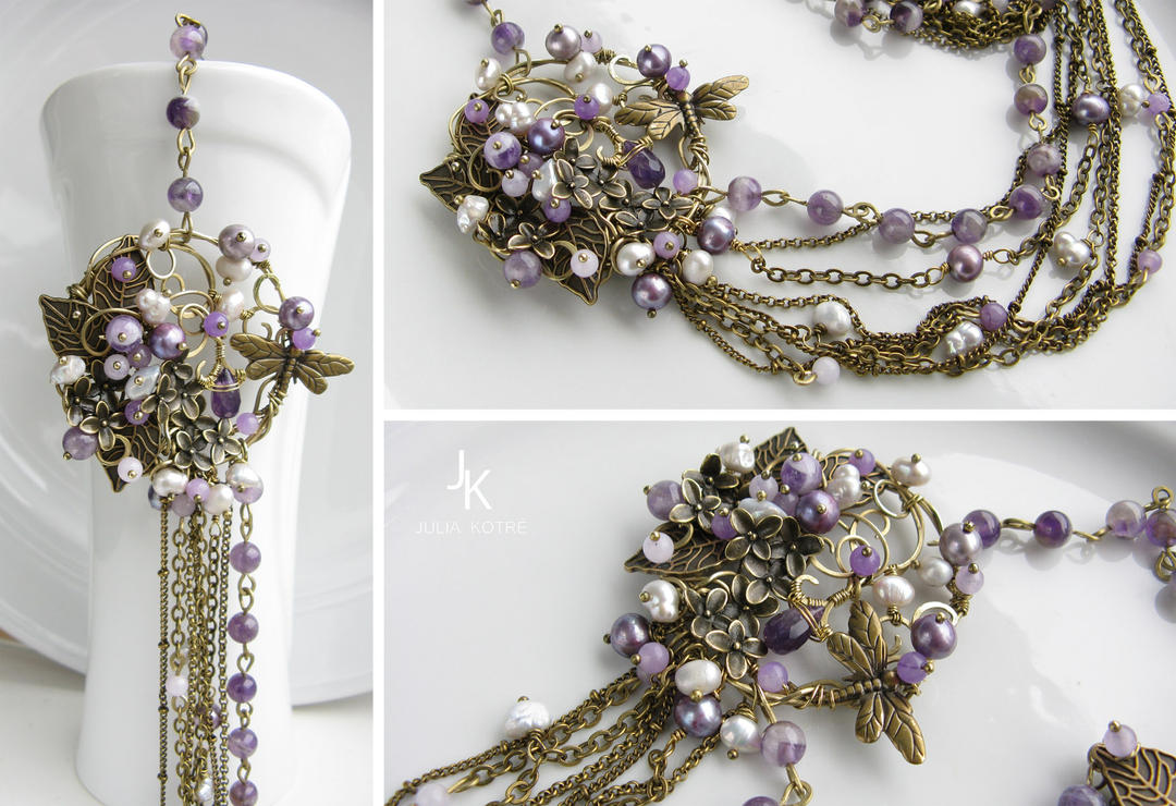brooch necklace Melody of the dusk by JSjewelry