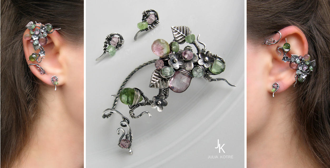 Silver ear wrap and studs Blooming grove by JSjewelry