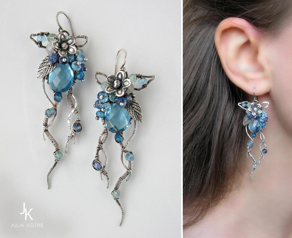 Silver earrings Midnight garden by JSjewelry