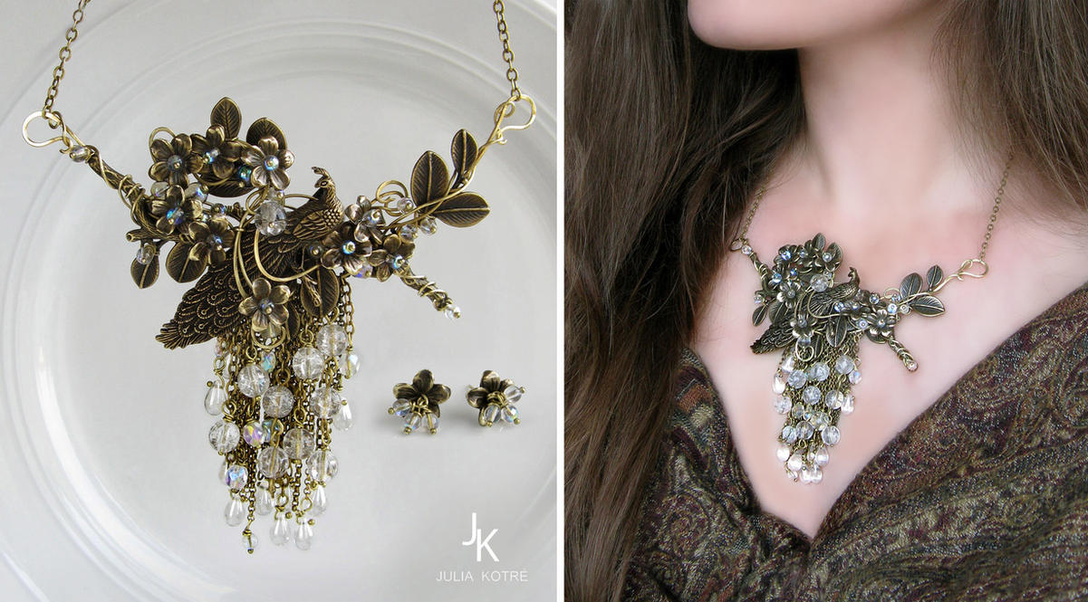 Floral cascade necklace and studs Waterfall garden by JuliaKotreJewelry