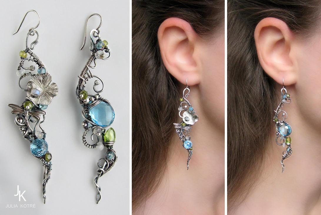 Long dissymetric silver earrings Enchanted pond by JSjewelry
