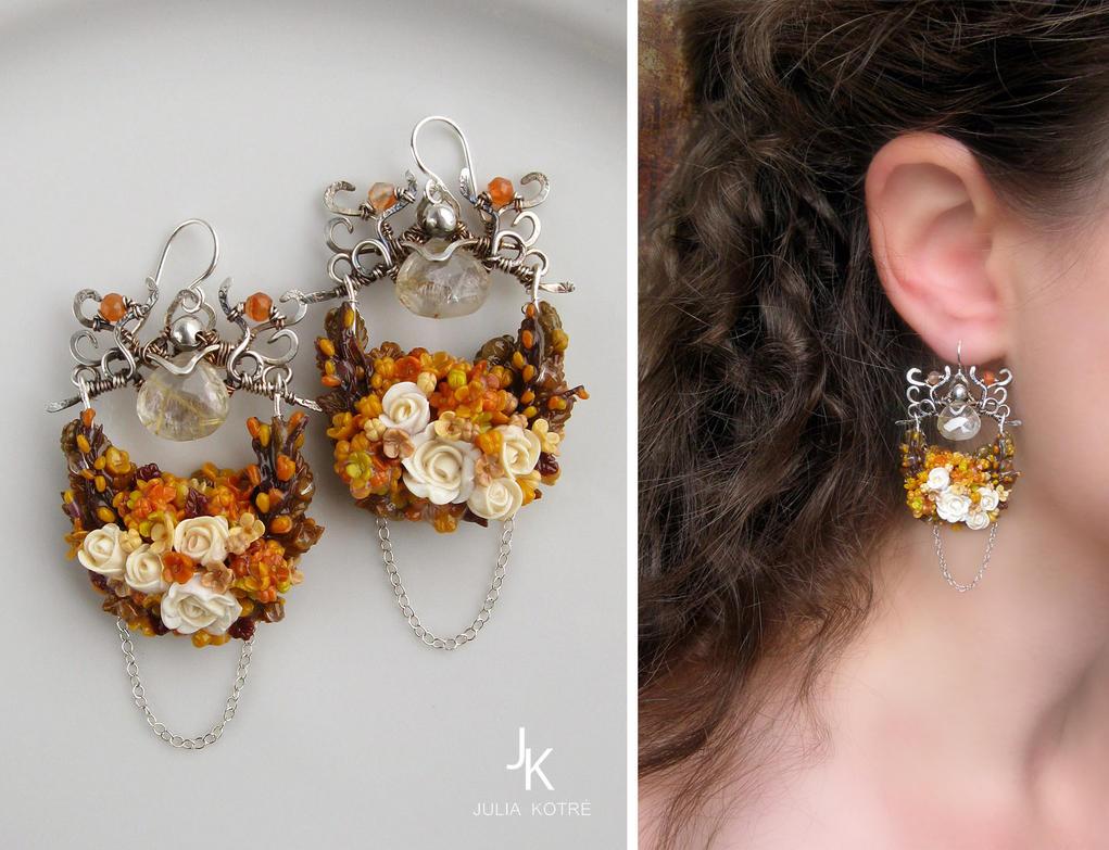 Silver earrings Kingdom Of The Autumn by JSjewelry