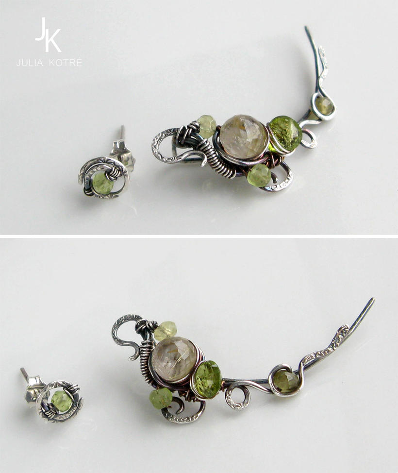 Silver ear pin and stud Lime tree alley by JSjewelry