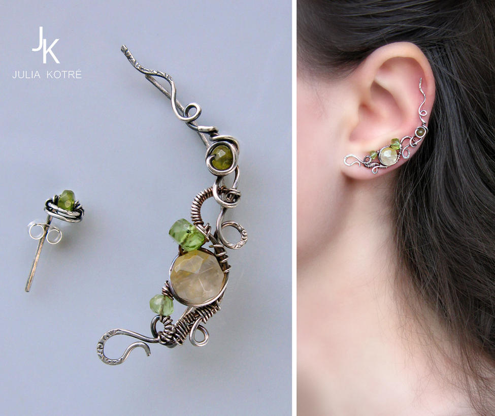 silver ear pin and stud Linden alley by JSjewelry