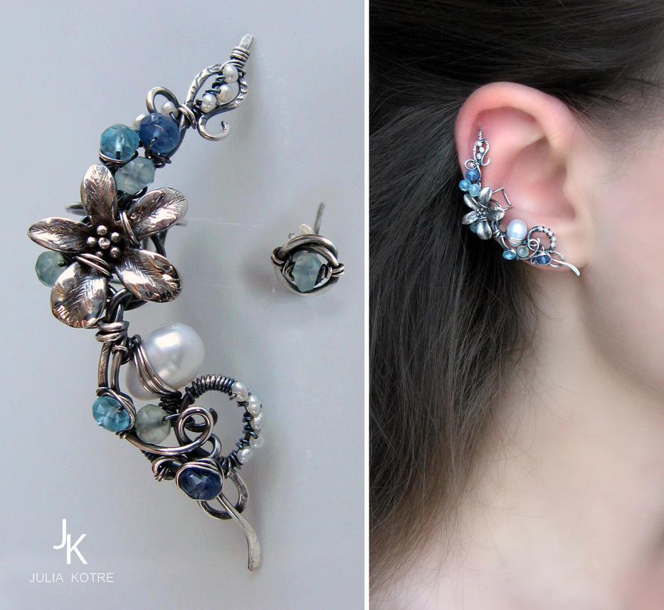 Silver ear cuff and stud Caribbean flower by JuliaKotreJewelry on ...