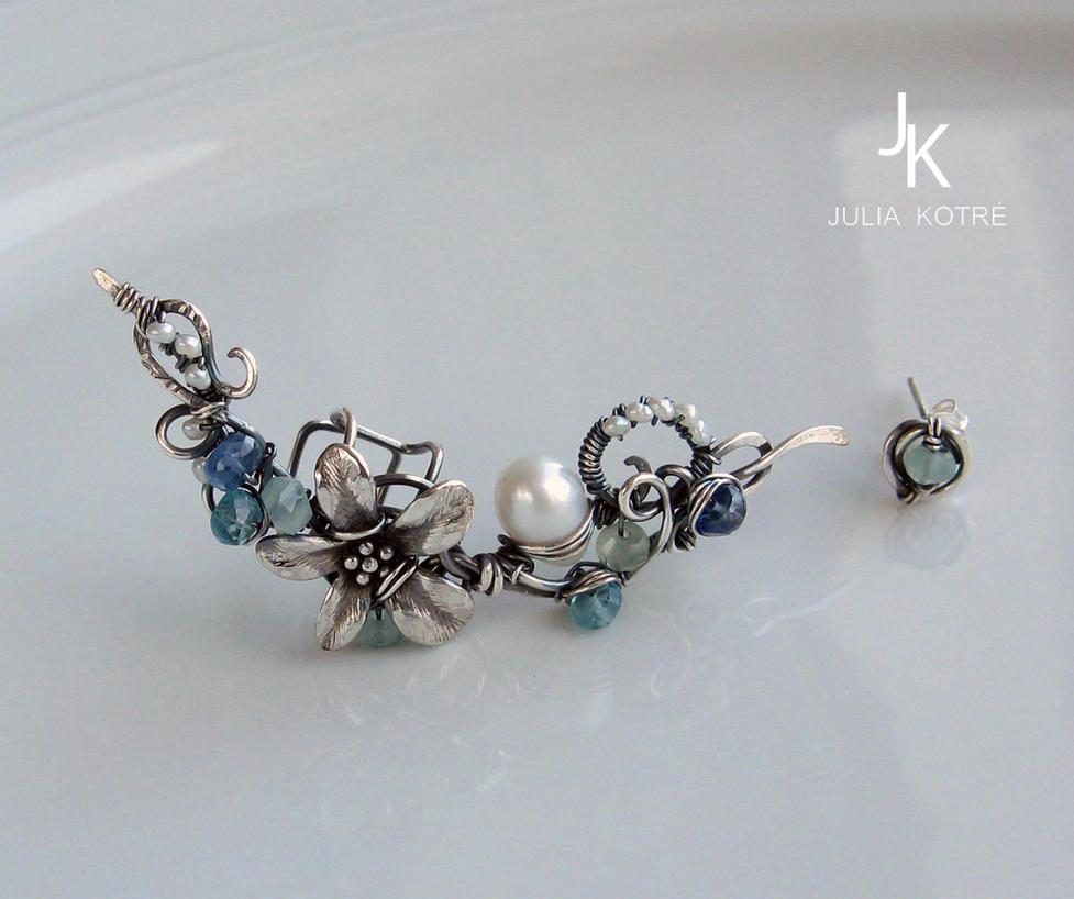 Silver ear cuff and stud Caribbean flower by JSjewelry