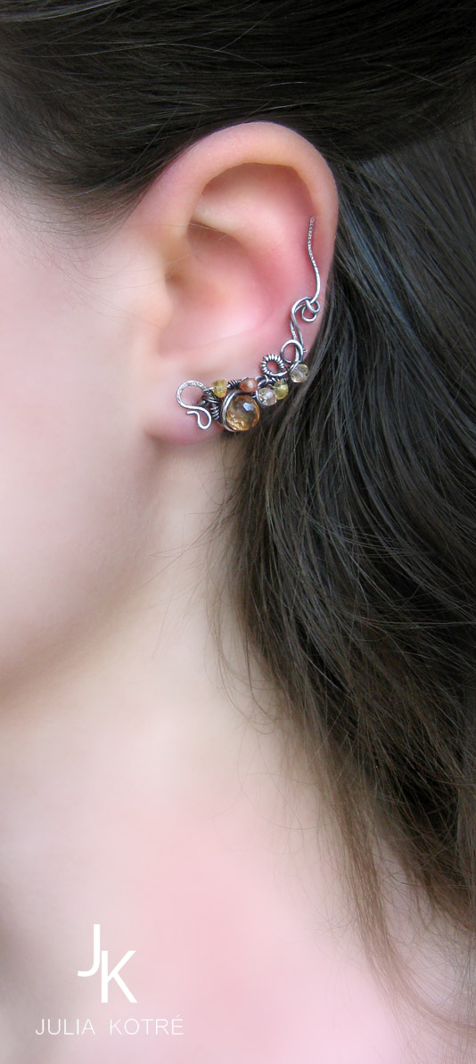 Ear pin and stud Autumn alley II by JSjewelry