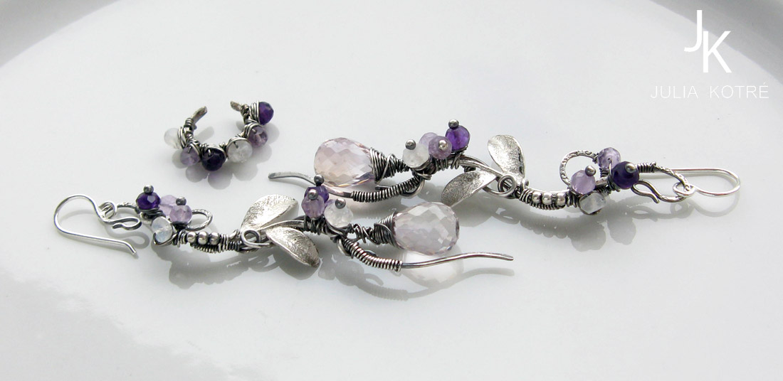 Wisteria branches sterling silver set by JSjewelry