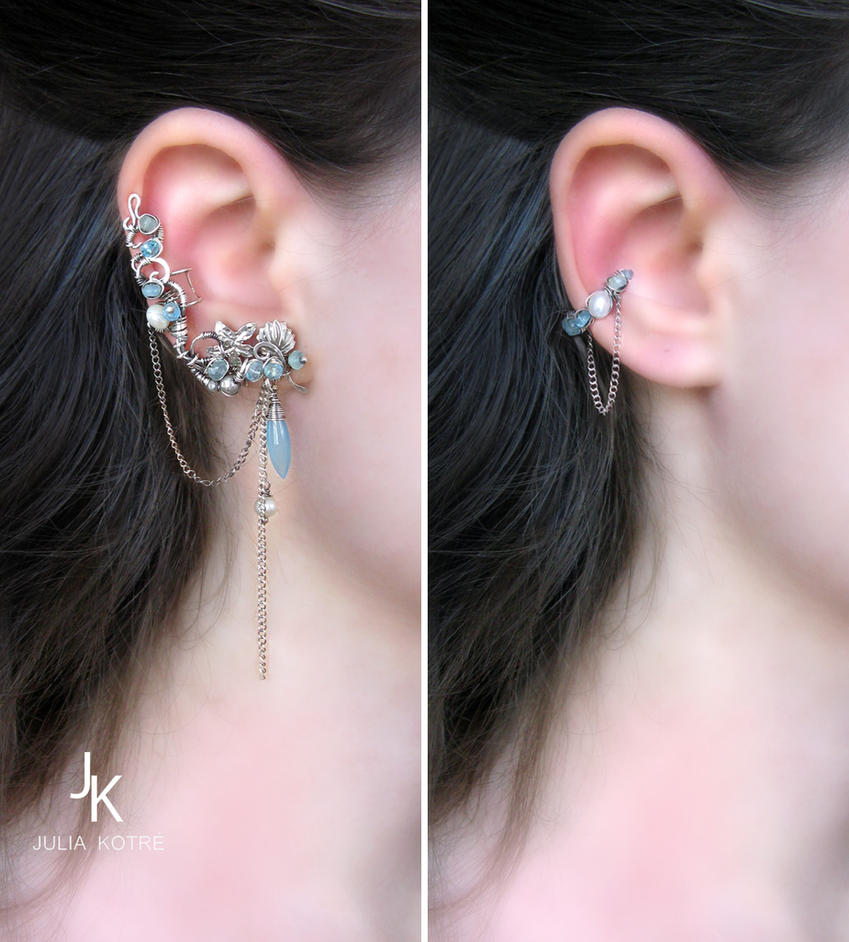 Silver ear cuffs set Shallow water by JSjewelry