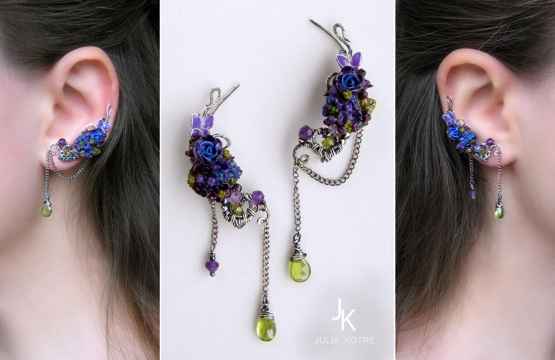 Velvet night ear pins by JSjewelry