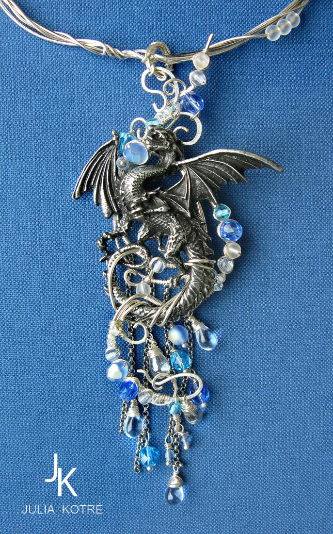 Water dragon necklace by JuliaKotreJewelry