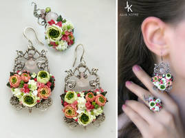 Window To Summer silver floral set by JuliaKotreJewelry