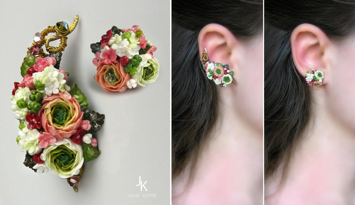 Ear cuff and stud Summer gardens by JSjewelry