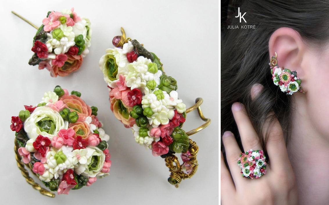 Set Summer gardens - ring, ear cuff, stud by JSjewelry