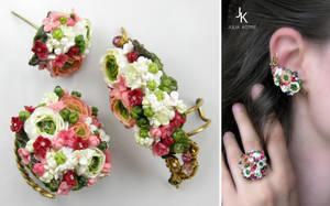 Set Summer gardens - ring, ear cuff, stud by JuliaKotreJewelry