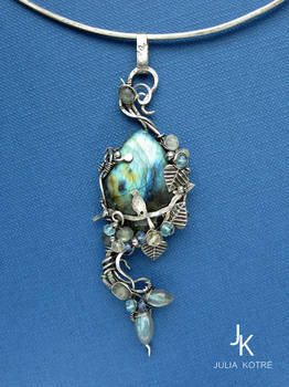 Silver pendant Mystery of the forest lake