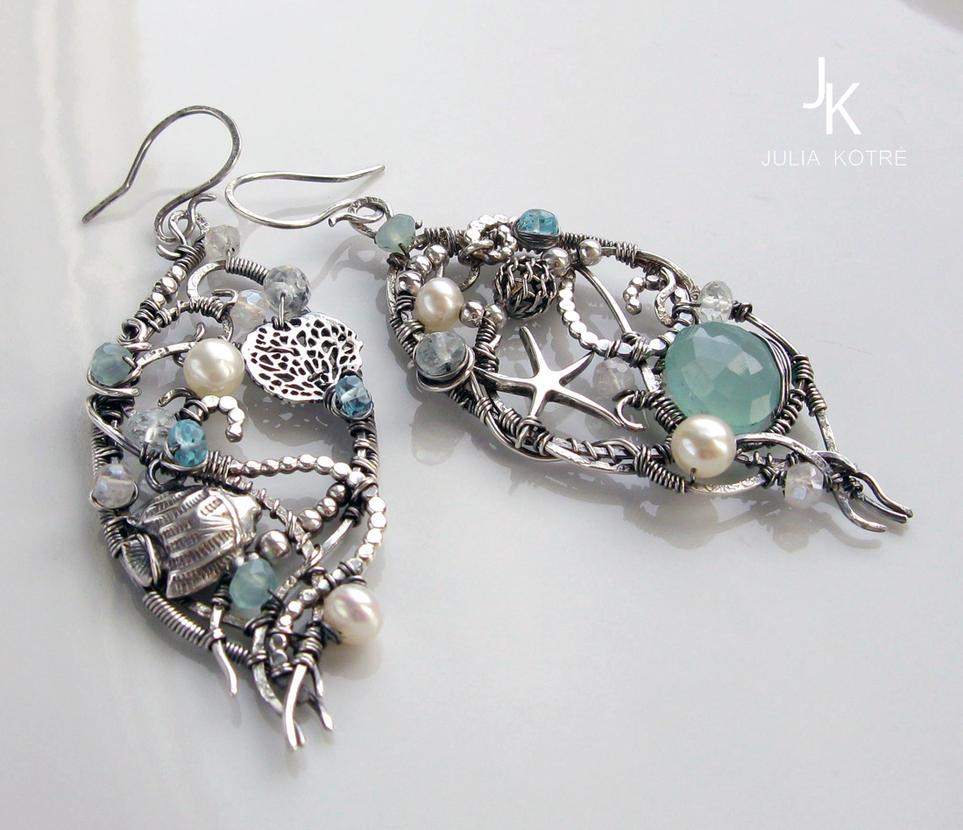silver asymmetrical nautical earrings Coral reef by JSjewelry
