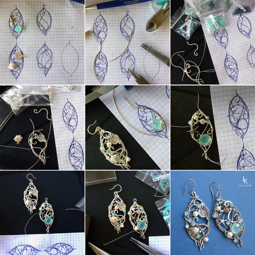 Tutorial wire wrapped earrings Coral reef by JSjewelry