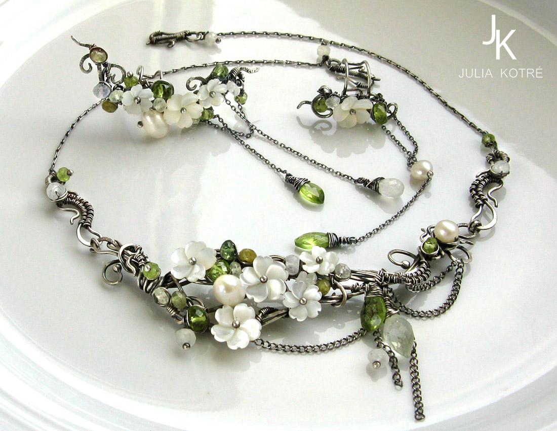 Silver necklace and ear cuffs Apple rain by JSjewelry