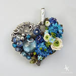 Floral silver pendant Spring in the heart