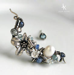 Another variant of Caribbean flower silver earcuff