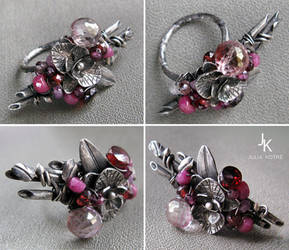 Silver ring Ikebana with orchid and bamboo