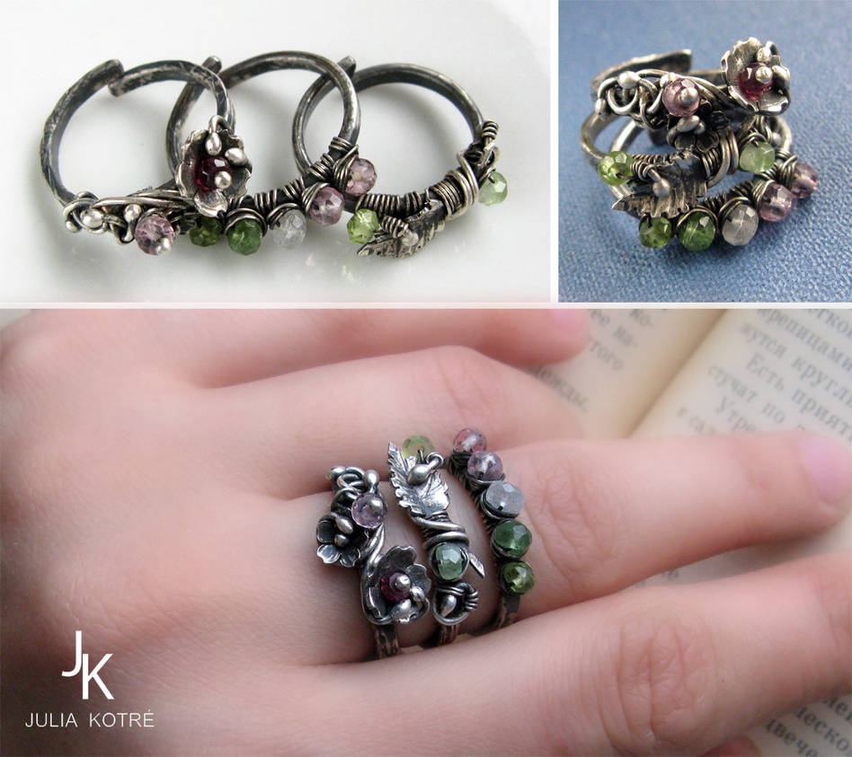 Silver stackable rings Flora by JuliaKotreJewelry
