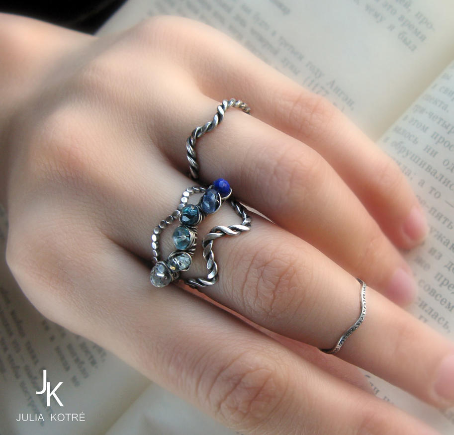 sterling silver stackable/knuckle rings Waves by JSjewelry