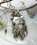 Silver pendant Autumn at a mountain watermill