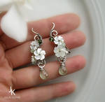 Floral silver earrings apple blossoms