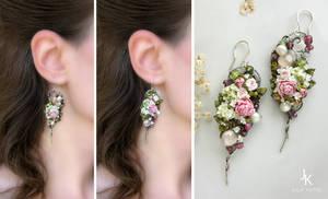 OOAK silver floral earrings On the wings of summer