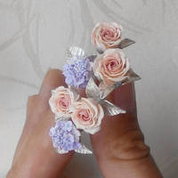 Rose and hydrangea post earrings by JuliaKotreJewelry