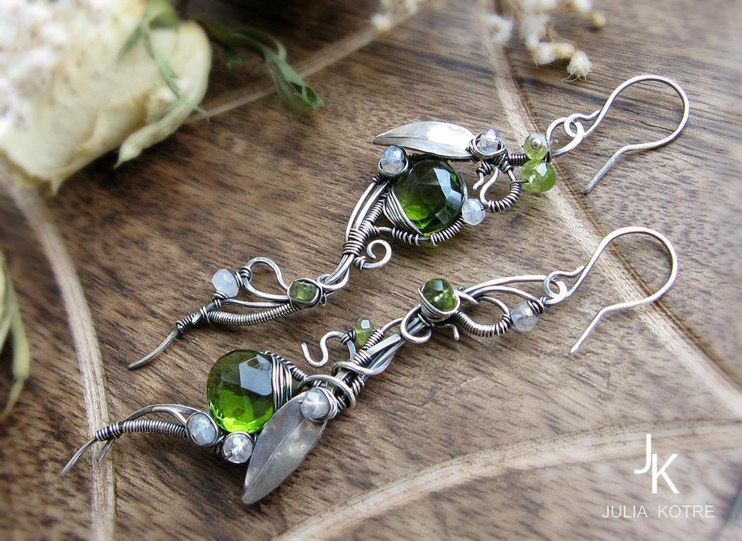 Long silver wire-wrapped earrings by JuliaKotreJewelry