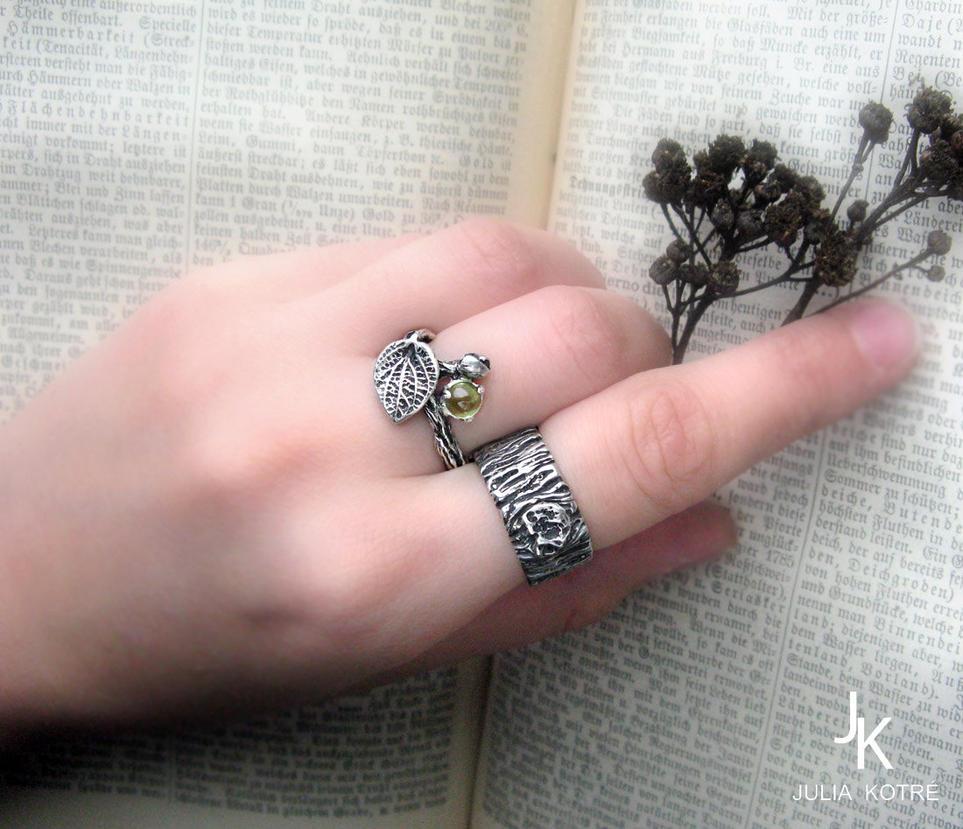 Tree bark twig silver ring set by JuliaKotreJewelry on DeviantArt