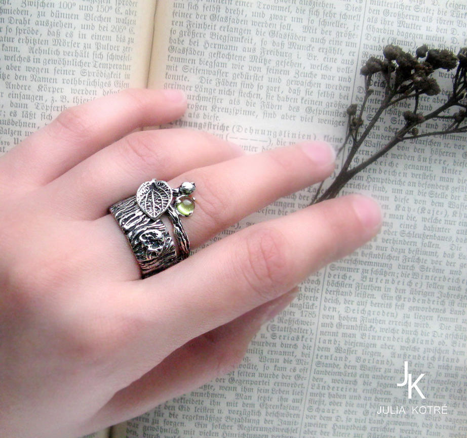 Tree bark twig silver ring set by JuliaKotreJewelry on DeviantArt