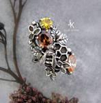 Honeybee silver cast ring
