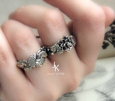 Cast silver lily and lily pad rings