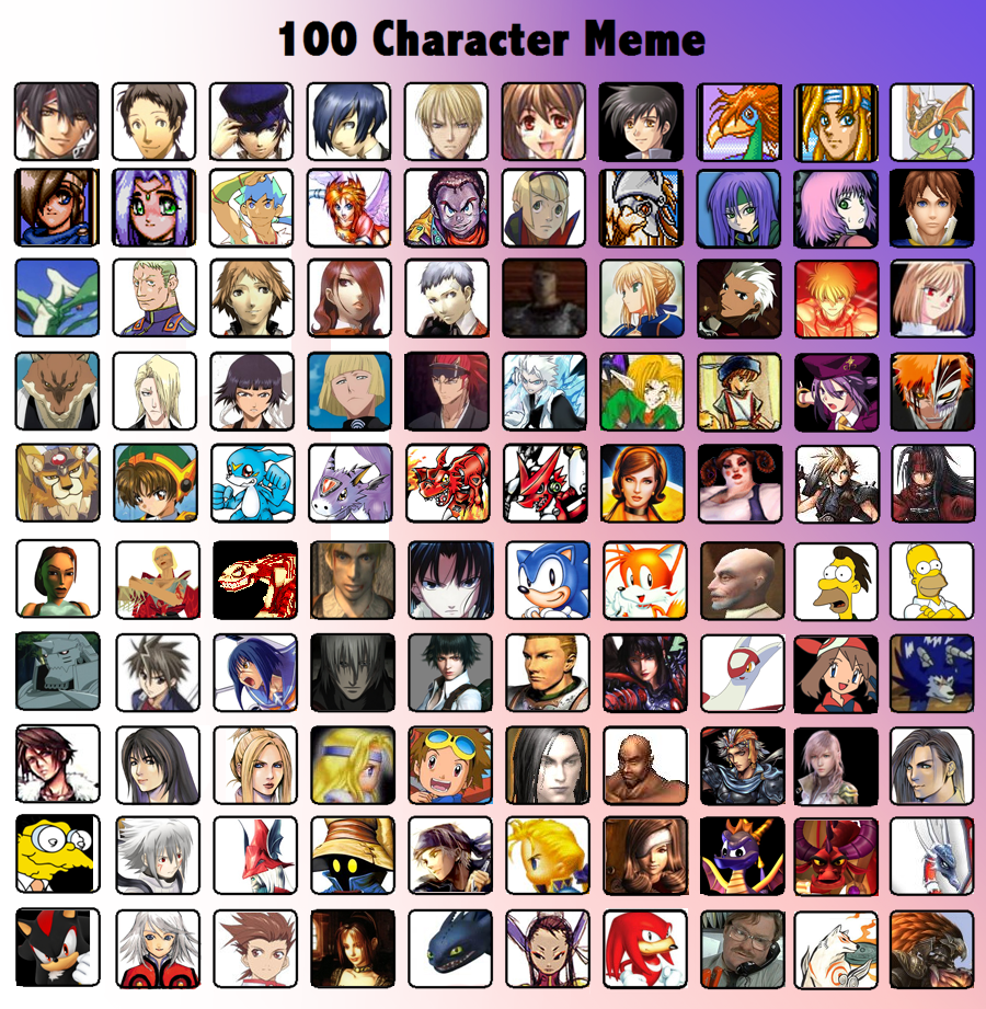 Cartoon Characters 2 100 Pics : Character meme by deadlyobsession on deviantart