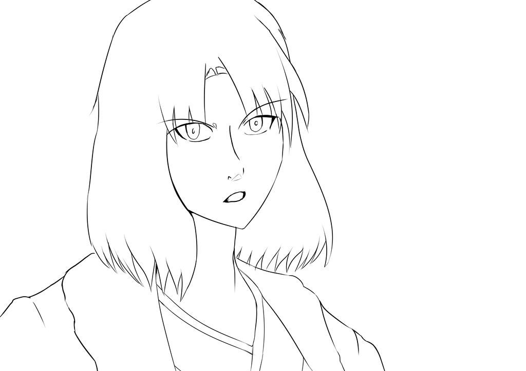 Line Art Layer : Ryougi shiki lineart by deadlyobsession on deviantart