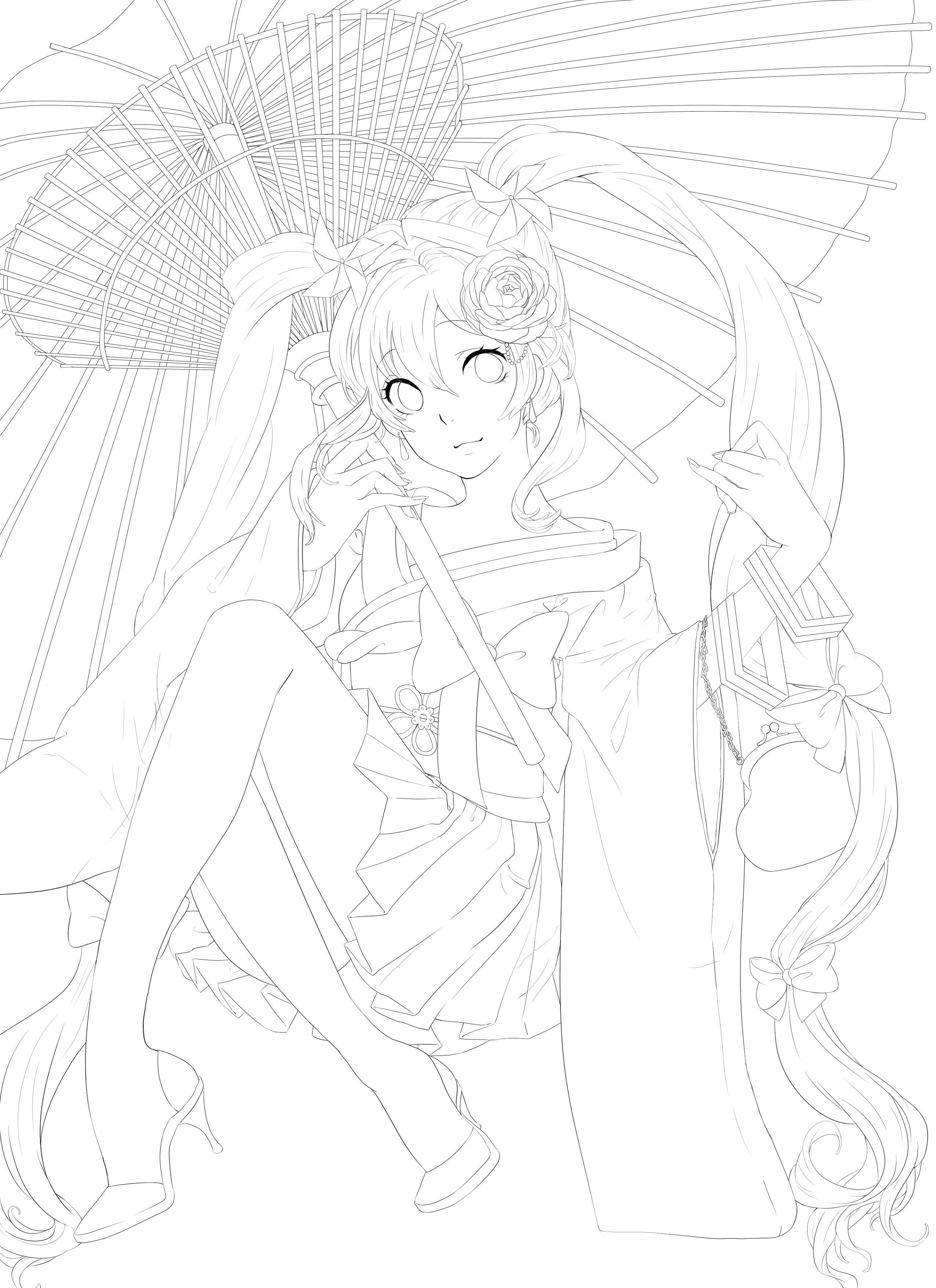 Line Art Reddit : Miku kimono vocaloid line art by haruya san on deviantart