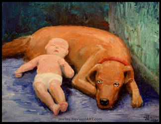 Baby and Dog by JeaTay