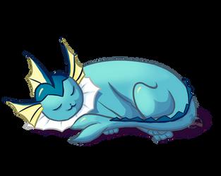 sleeping Vaporeon by Mini-Drachin
