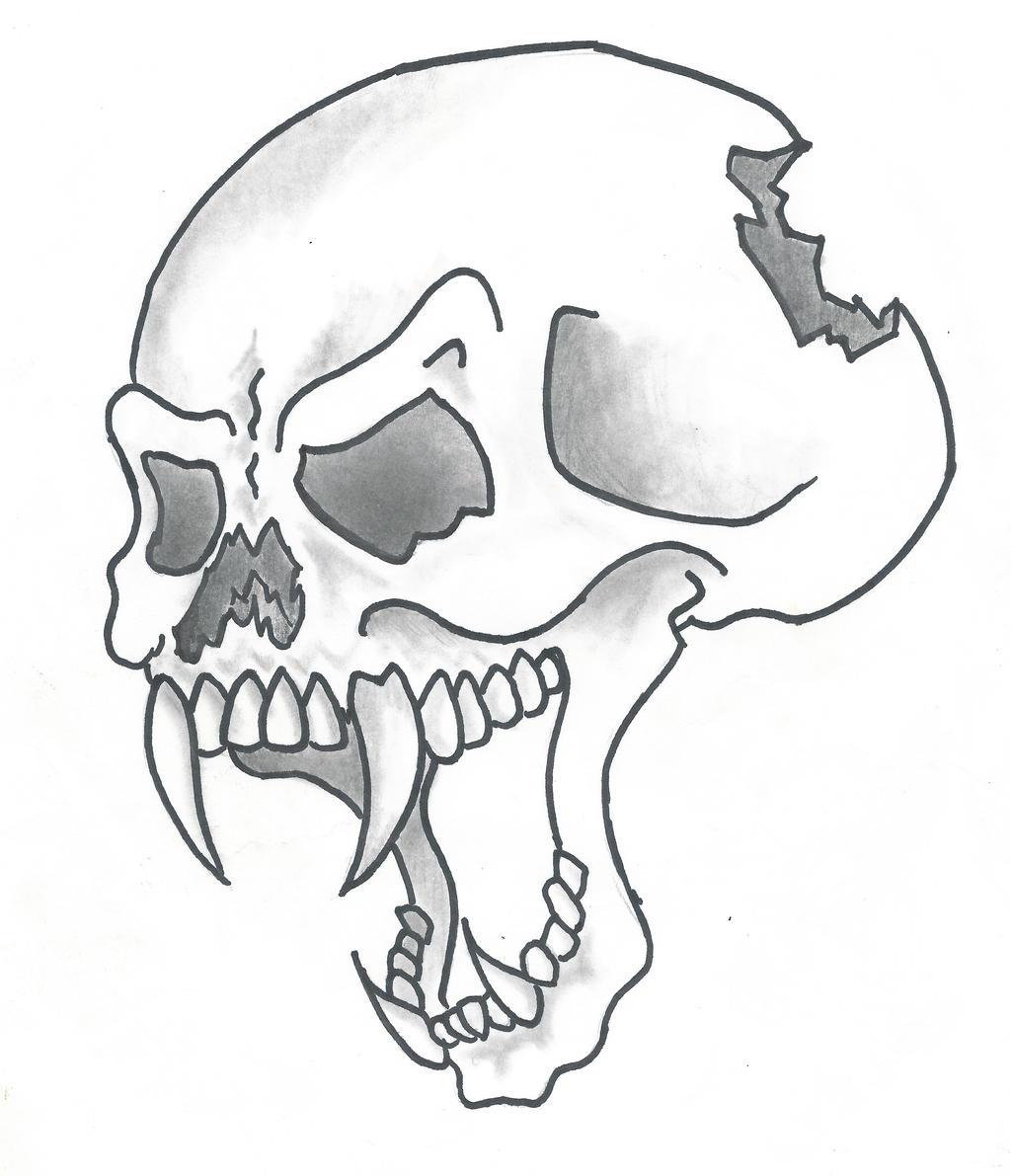Simple Skull Line Art : Cartoon style skull by sticksnstones on deviantart